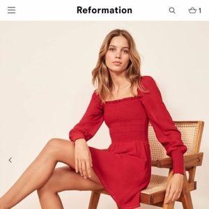 Reformation Kelli Smocked Minidress